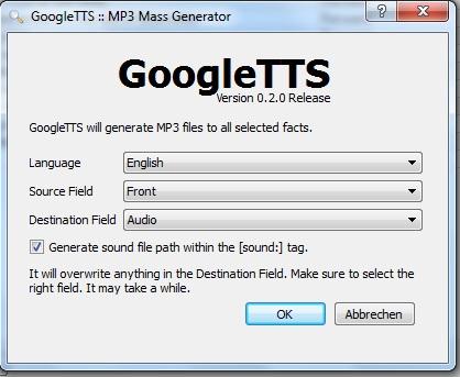 Anki google TTS erzeugen