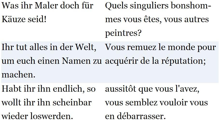 Beispiel für die Textanordnung - Den französischen Wortschatz verbessern