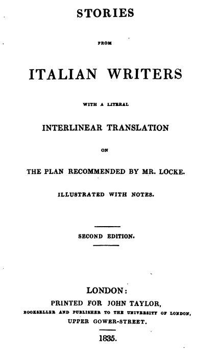 Wortwörtliche Übersetzung Italienisch - Englisch